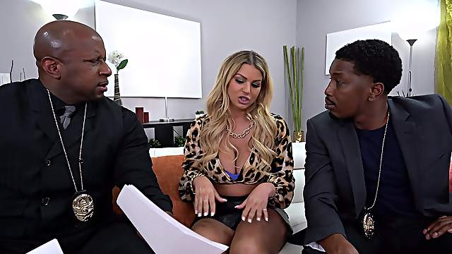 Anal fucked by a pair of black lovers with massive cocks