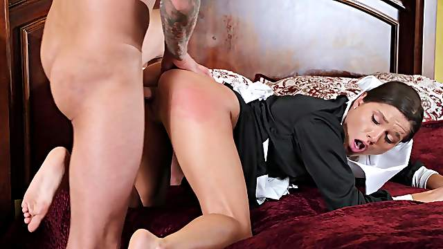 Sensual maid bends ass for master of the house huge dick