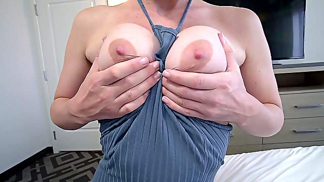 Nude busty amateur woman drives her man nuts by riding his dick hard