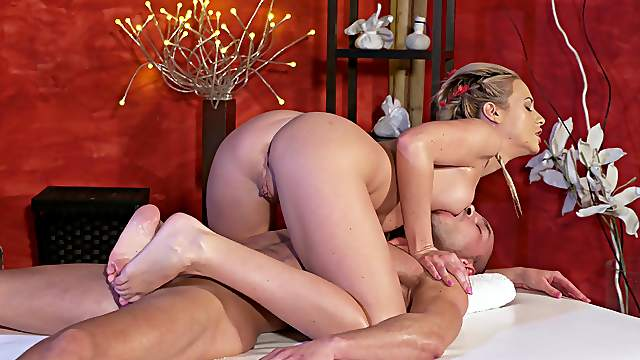 Talented masseuse Cristal Caitlin gives this guy the full service