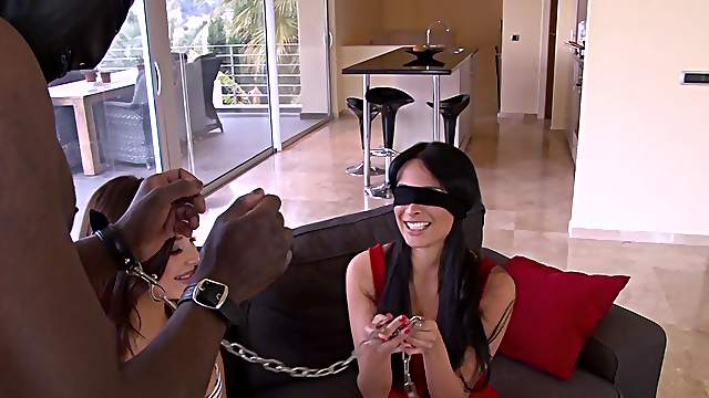 A marvelous display of two energized women sharing cock in kinky scenes