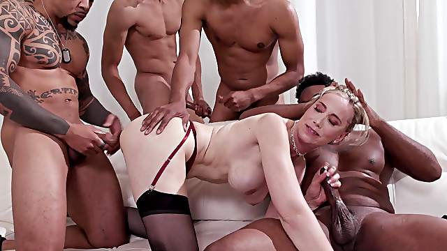 Sexy wife Lilly James has her cuckold watch her get railed