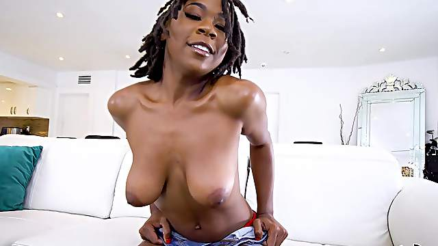 Ebony babe with saggy naturals shaking when riding dick reaches the orgasm