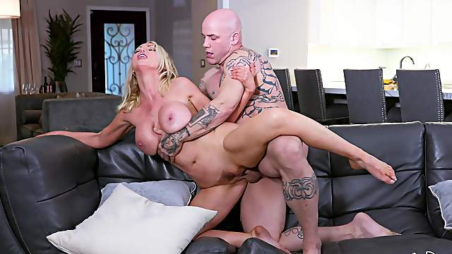 Bald dude shows this MILF the fuck of her life