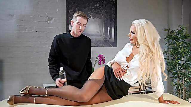 Blonde cougar rides man at the office for complete hardcore