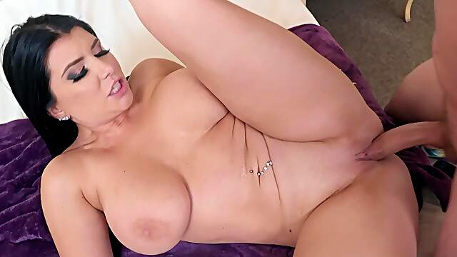 Romi Rain with shaved pussy getting dicked in doggy style position