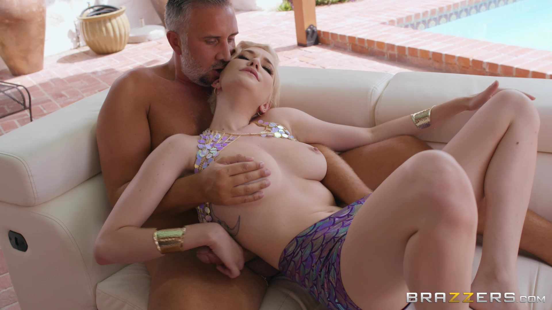 Sweet blonde loads her tiny hole with daddy's big dick
