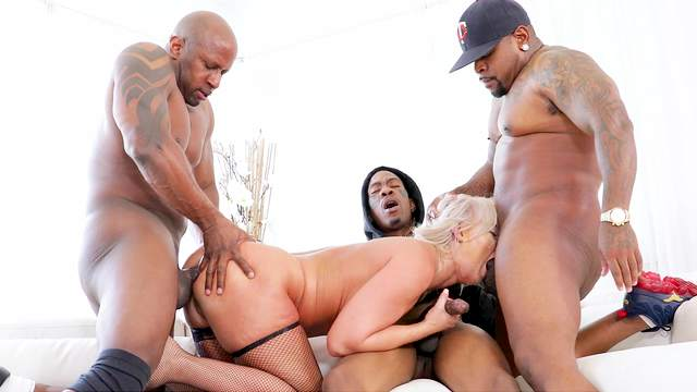 Interracial foursome with sexy London River ending with a facial