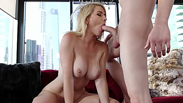 Gagged blonde ends with her pussy demolished and sperm on her hard nipples