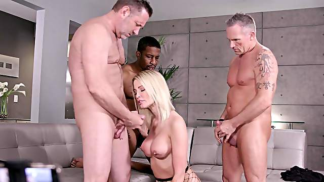Busty wife is ready for a triple dose of merciless fucking