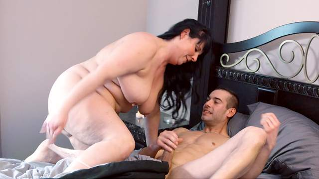 Impeccable cock riding and doggy style by a busty mature aunt