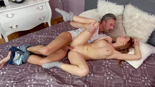 Step dad sure loves the fresh feel of the girl's pink pussy