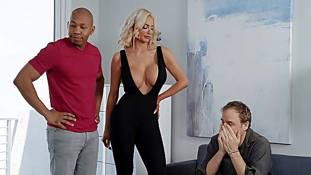 Busty wife goes full mode on black man's young dong