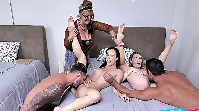 Auntie loves watching her two nieces getting so slutty and wild