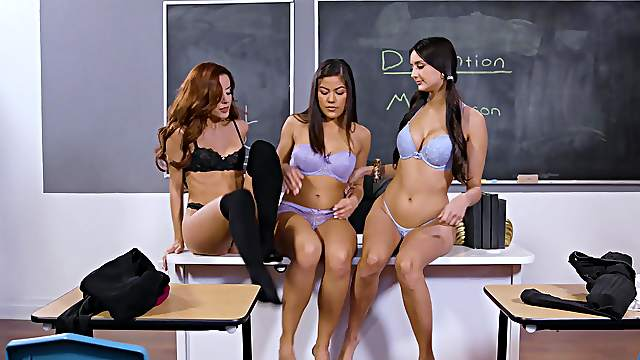 Alluring chicks share the classroom for their kinky intimacy