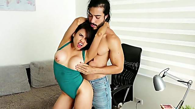 Nothing but energized inches for her shaved little cunt